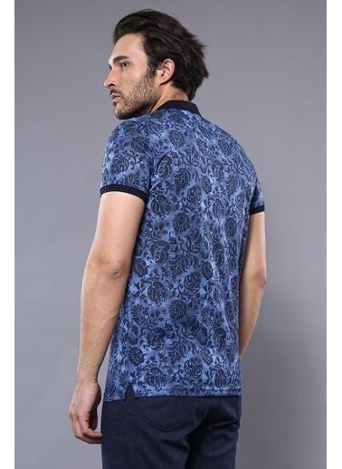 Wessi Erkek Çiçek Desenli Polo Yaka Slim Fit Tişört Mavi